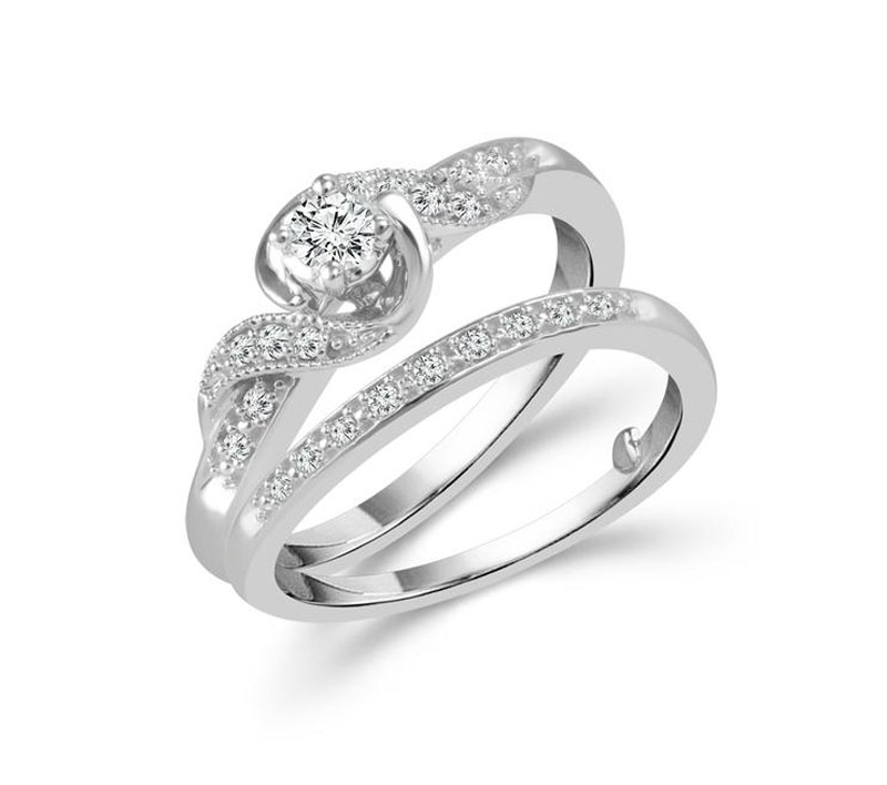 10kt White Gold Diamond Engagement Ring  by IDD