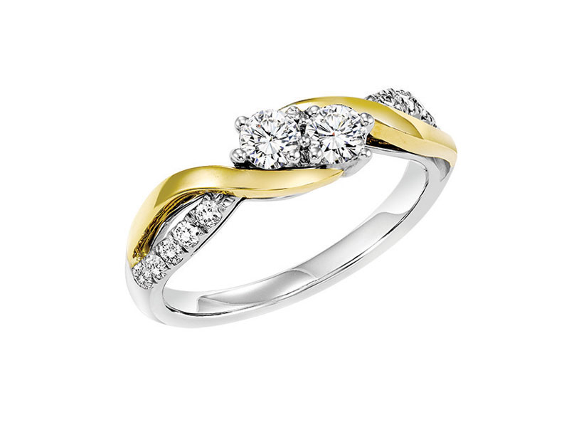14kt White & Yellow Gold Diamond Anniversary Ring by Twogether