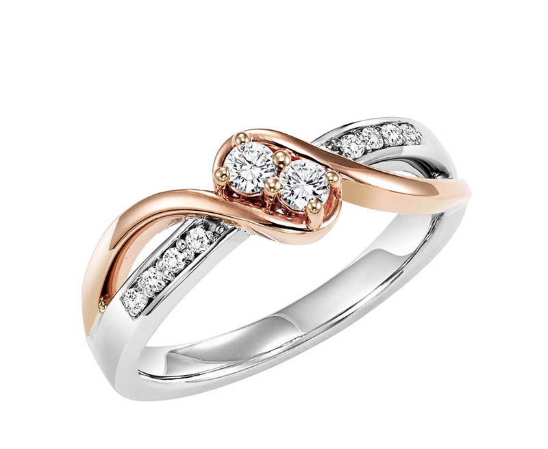 14kt White & Rose Gold Diamond Anniversary Ring by Twogether
