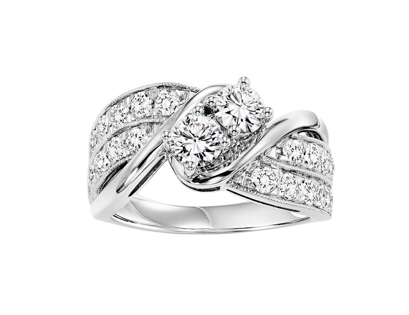 14kt White Gold Twogether Diamond Ring by Twogether