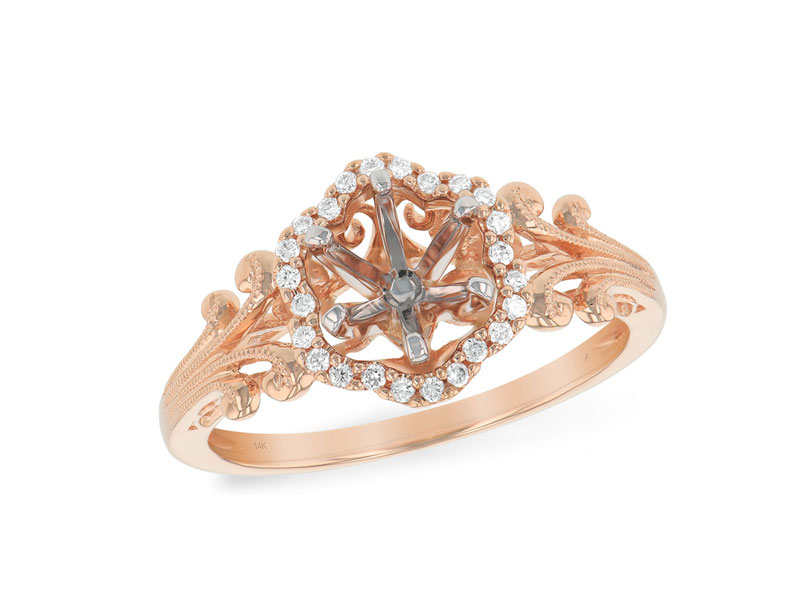 14kt Rose Gold Diamond Semi-Mount Engagement Ring by Allison Kaufman