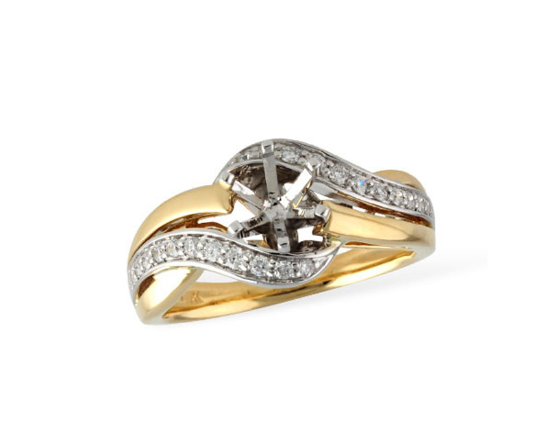 14kt Two Tone Diamond Semi-Mount Engagement Ring by Allison Kaufman