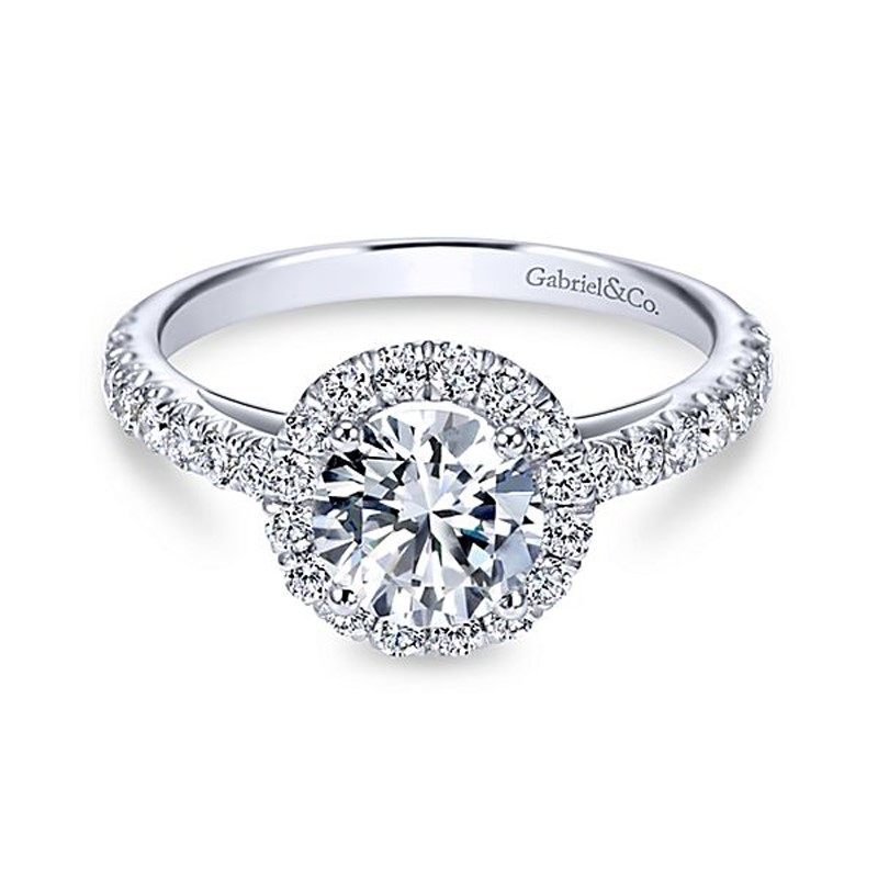 14kt White Gold Diamond Engagement Ring by Gabriel & Co