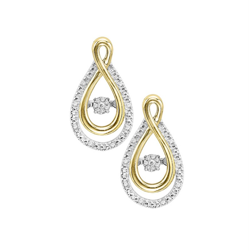 10kt Yellow Gold & Sterling Silver Diamond Earrings by Rhythm of Love