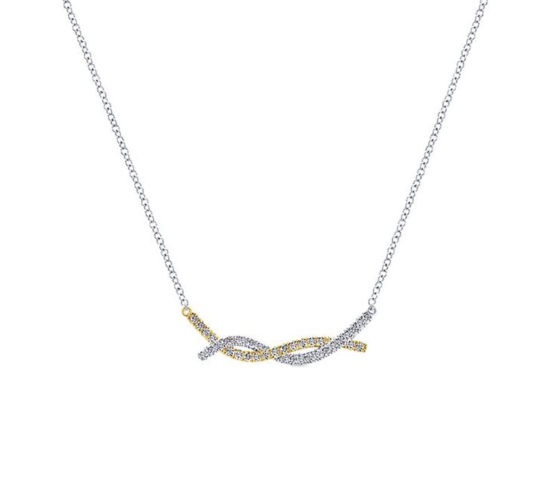 14kt White & Yellow Gold Diamond Twist Necklace by Gabriel & Co