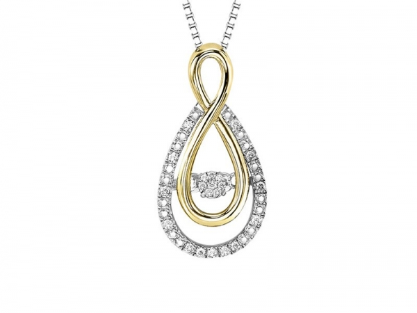 10kt Yellow Gold & Sterling Silver Diamond Necklace by Rhythm of Love