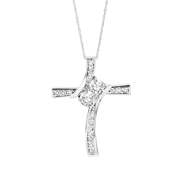 14kt White Gold Diamond Cross Necklace by Twogether