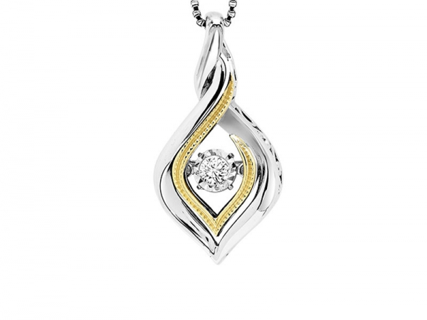 Sterling Silver & 10kt Yellow Gold Rhythm of Love Diamond Necklace by Rhythm of Love