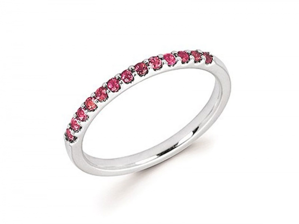 14kt White Gold Pink Tourmaline Stackable Ring by Ostbye