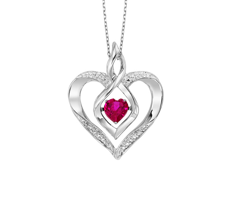 Sterling Silver Rhythm of Love Created Ruby Necklace by Rhythm of Love