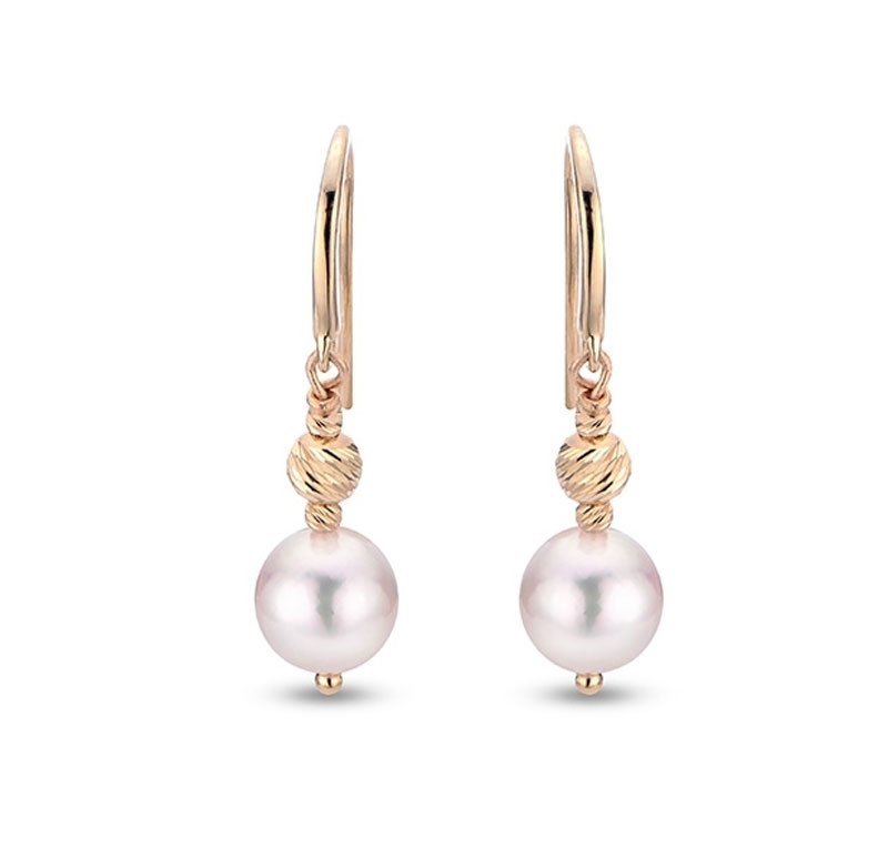 14kt Yellow Gold Drop Pearl Earrings by Imperial Pearls