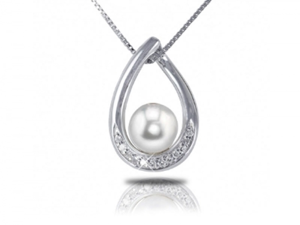 Sterling Silver Pearl & Diamond Pendant by Imperial Pearls