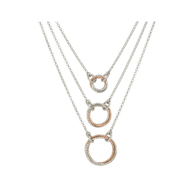 Sterling Silver & Rose Gold Plate Lariat Necklace by Frederic Duclos