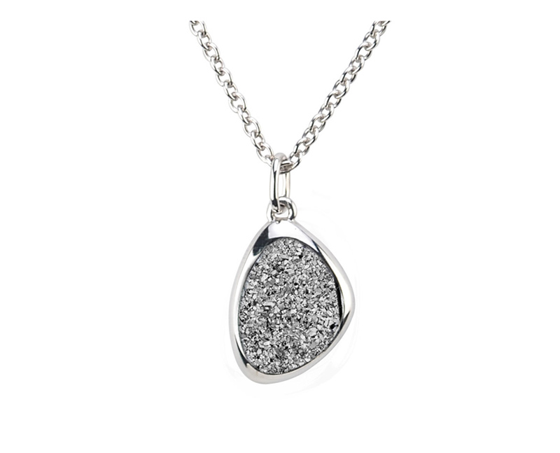 Sterling Silver Lighting Drusy Necklace by Frederic Duclos