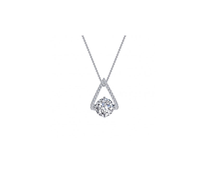 Sterling Silver Simulated Diamond Necklace by Lafonn Jewelry