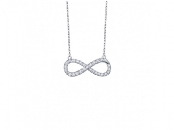 Sterling Silver Simulated Diamond Infinity Necklace by Lafonn Jewelry