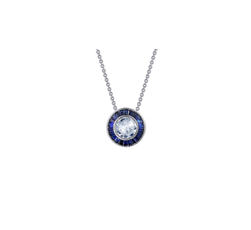 Sterling Silver Simulated Diamond & Lab Grown Sapphire Necklace by Lafonn Jewelry