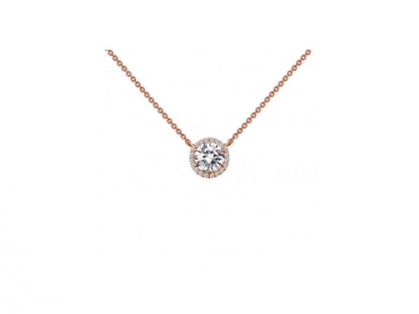 Rose Gold Plate Simulated Diamond Necklace by Lafonn Jewelry