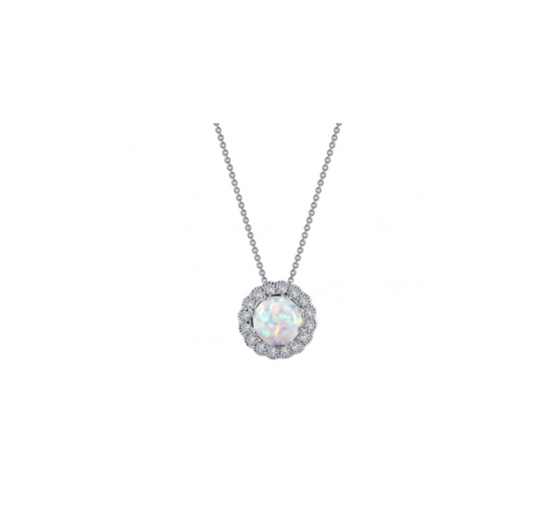 Sterling Silver Simulated Opal & Simulated Diamond Necklace by Lafonn Jewelry