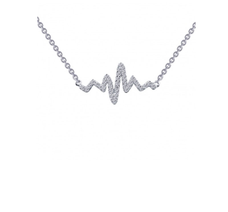 Sterling Silver Simulated Heartbeat Necklace by Lafonn Jewelry