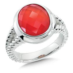 Sterling Silver Orange Agate Ring by Colore | SG