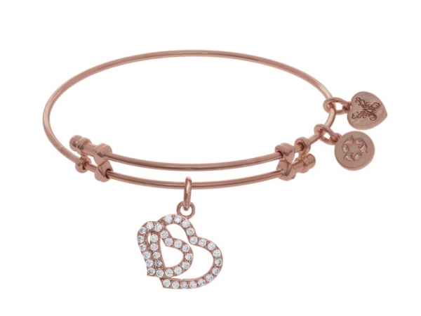 Brass Pink Double Heart Angelica Bracelet by Angelica