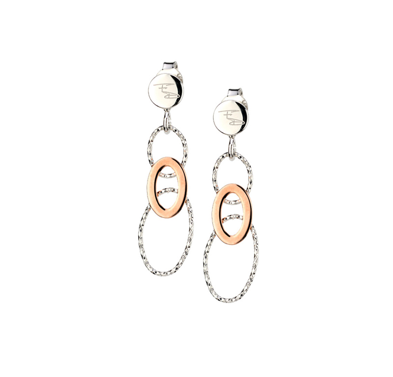 Sterling Silver & Rose Gold Plate Earrings by Frederic Duclos