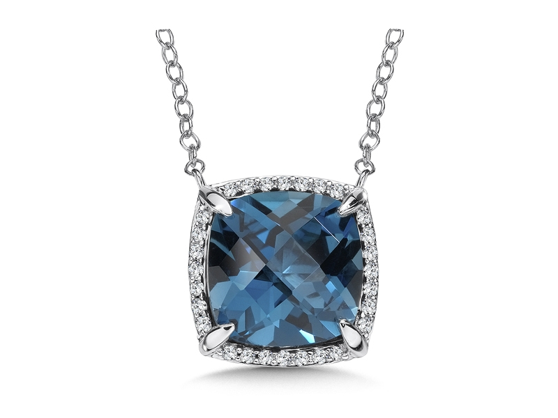 14kt White Gold London Blue Topaz Necklace by Colore | SG