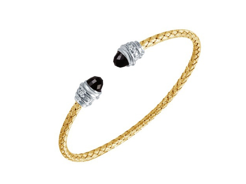 18kt Yellow Gold Plate Cuff Bracelet with Black Onyx and Diamonds by Charles Garnier Paris