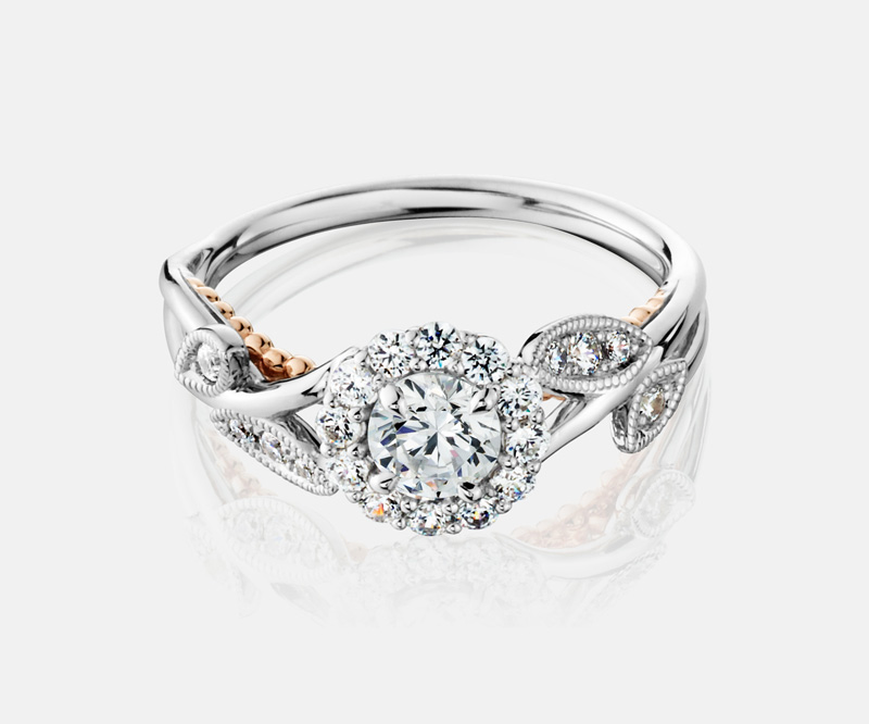 14kt White & Rose Gold Diamond Engagement Ring by Naledi Collection