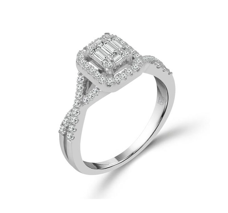 14kt White Gold Diamond Engagement Ring by IDD