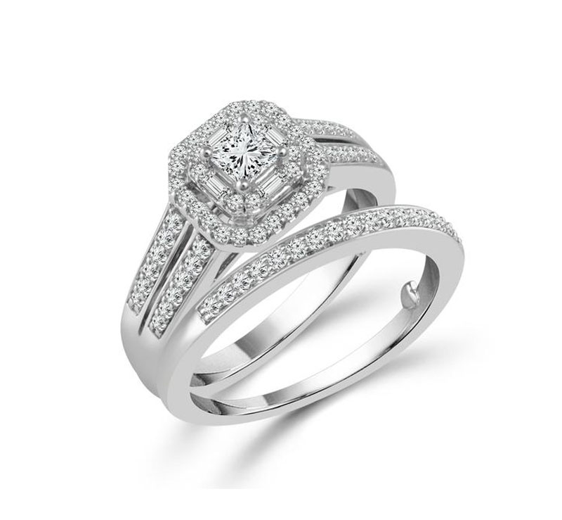 10kt White Gold Diamond Engagement Set  by IDD