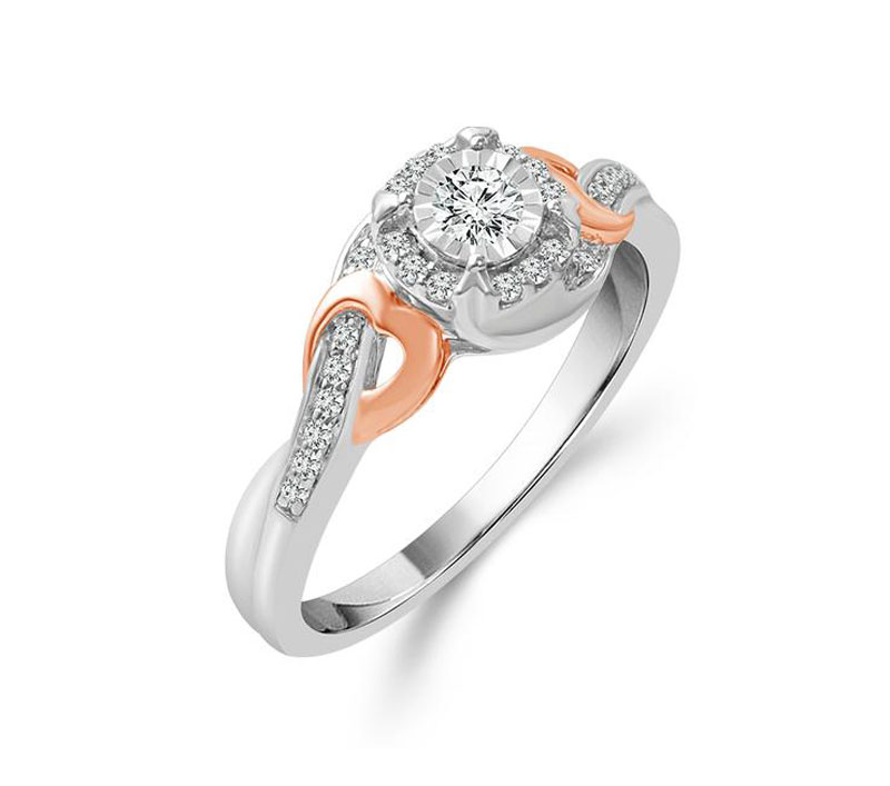 10kt White & Rose Gold Diamond Engagement Ring by IDD