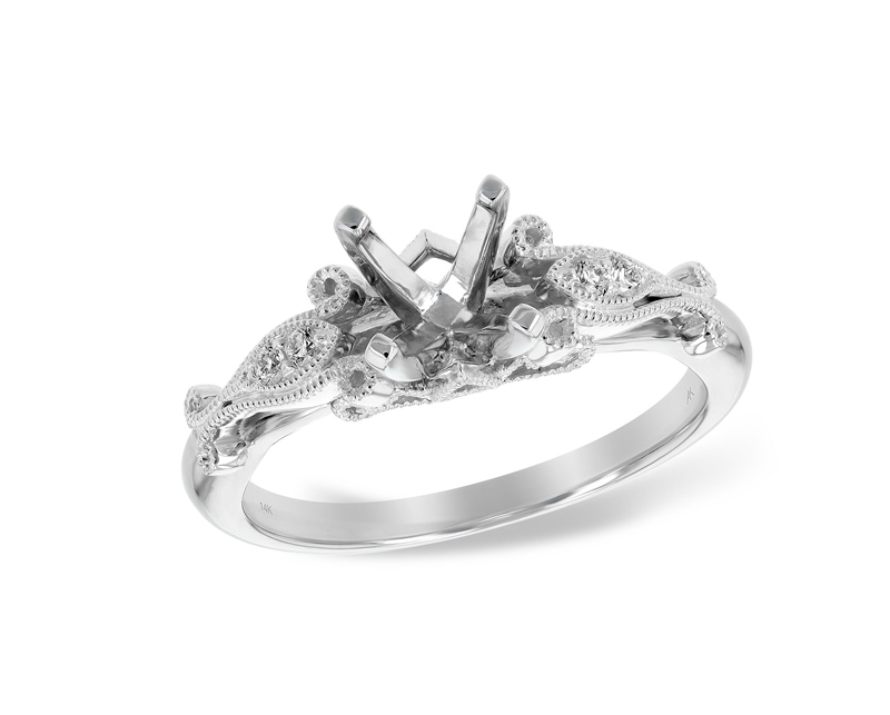 14kt White Gold Semi-Mount Diamond Engagement Ring by Allison Kaufman
