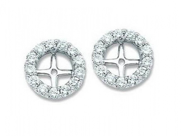 14kt White Gold Diamond Earring Jackets by IDD