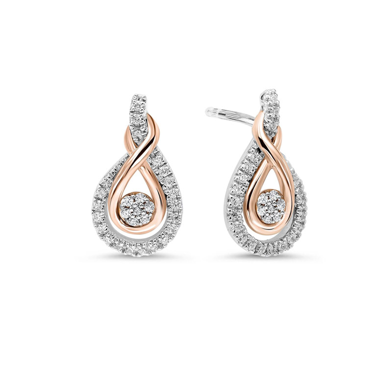 Sterling Silver & 10kt Rose Gold Diamond Earrings by Gems One