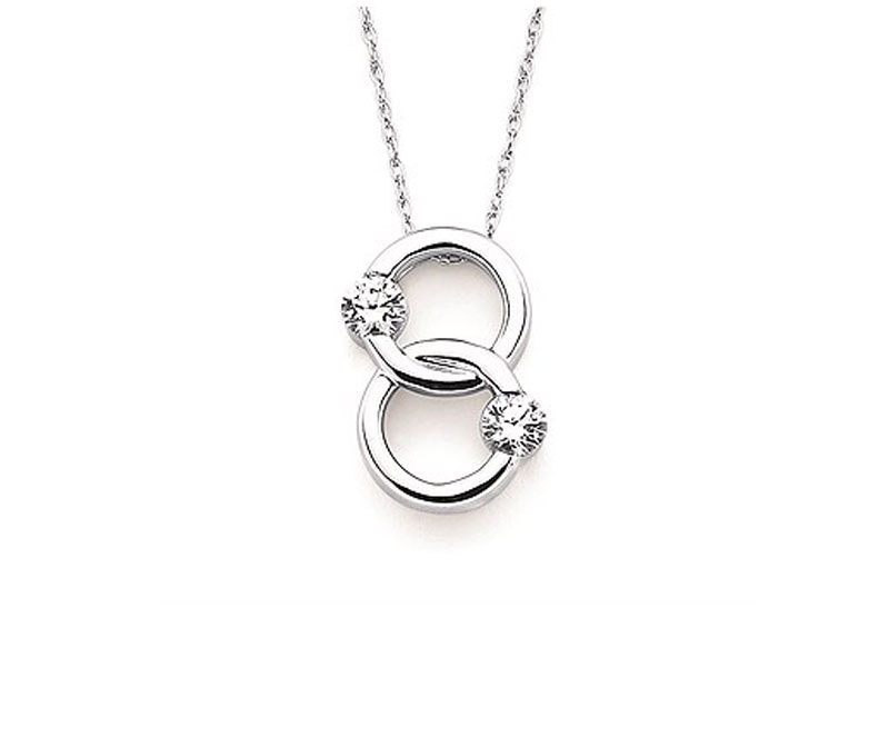 14kt White Gold Twogether Diamond Necklace by Ostbye