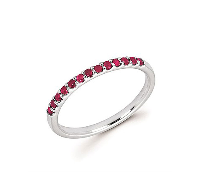 14kt White Gold Ruby Stackable Ring by Ostbye