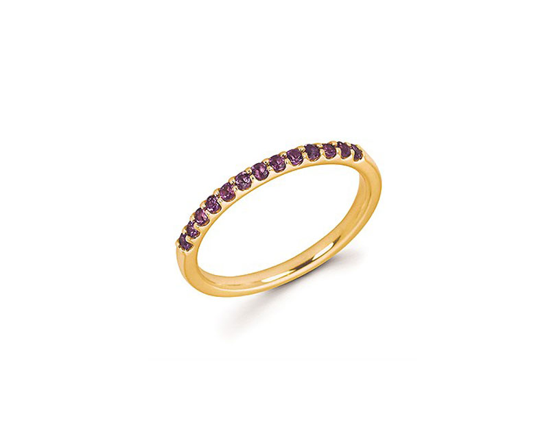 14kt Yellow Gold Amethyst Stackable Ring by Ostbye