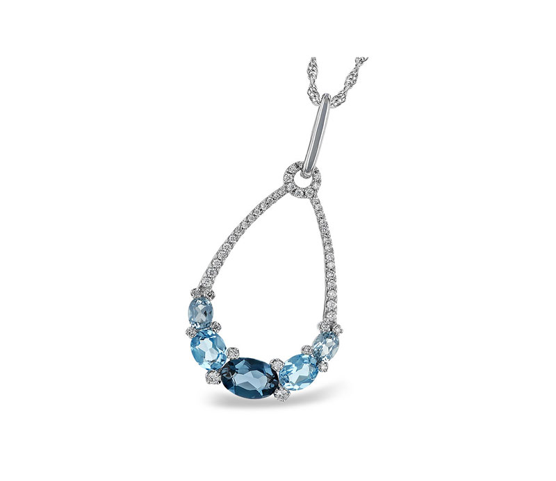 14kt White Gold Blue & White Diamond Necklace by Allison Kaufman