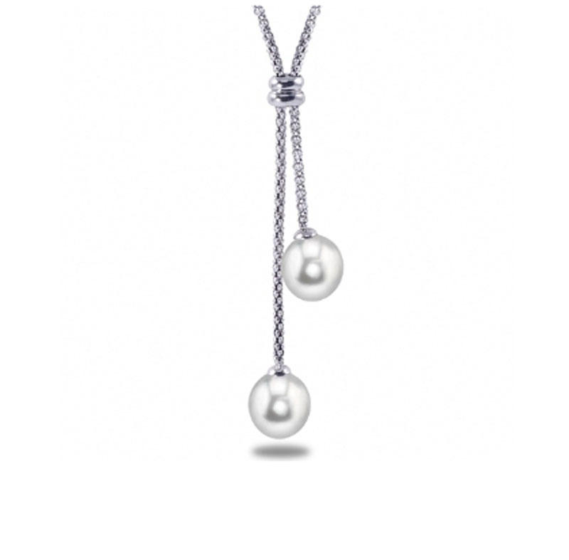Sterling Silver Freshwater Pearl Lariat Necklace by Imperial Pearls
