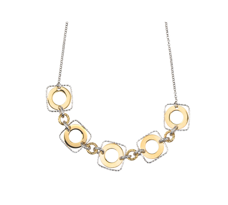 Sterling Silver & Yellow Gold Plate Necklace by Frederic Duclos