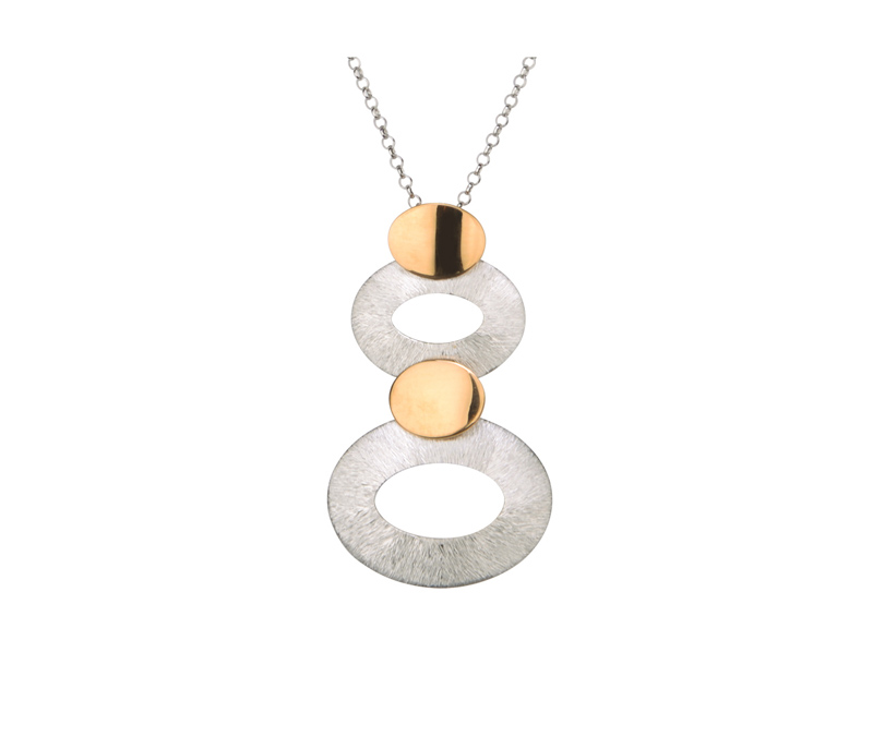 Sterling Silver & 18k Yellow Gold Plate Necklace by Frederic Duclos