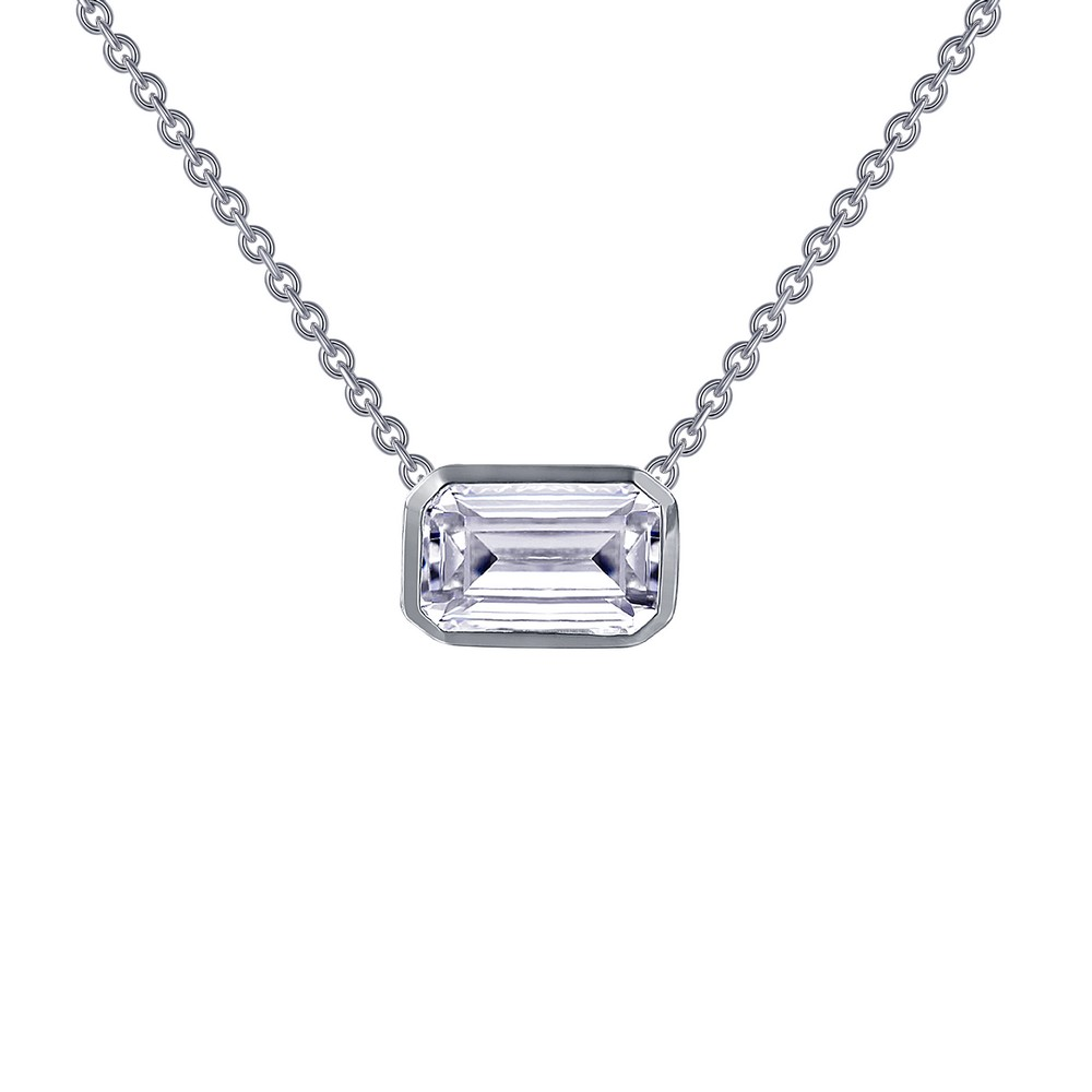 Sterling Silver Simulated Emerald Cut Diamond Necklace by Lafonn Jewelry