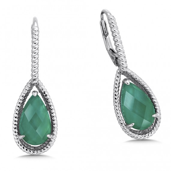 Quartz and Green Agate Earrings by Colore | SG