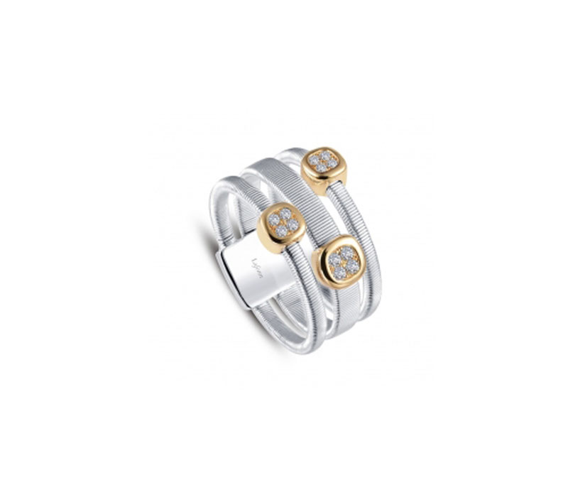 Sterling Silver & Yellow Gold Plate Simulated Diamond Ring by Lafonn Jewelry