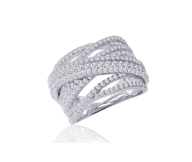 Sterling Silver Criss Cross Simulated Diamond Ring by Lafonn Jewelry