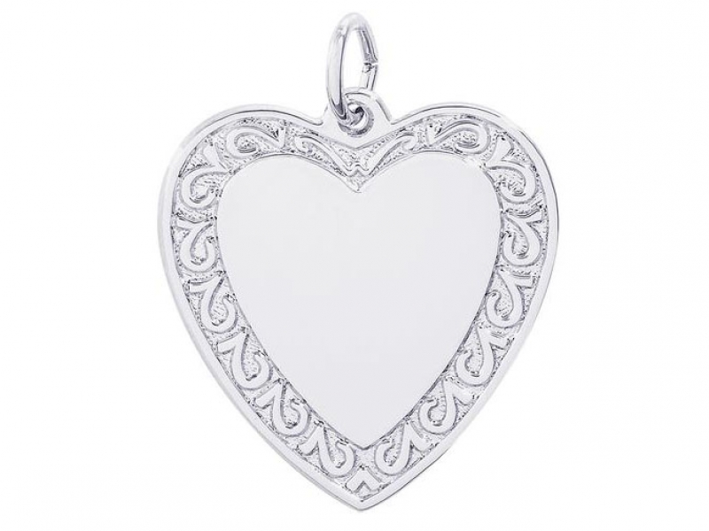 Sterling Silver Scrolled Heart Charm by Rembrandt Charms