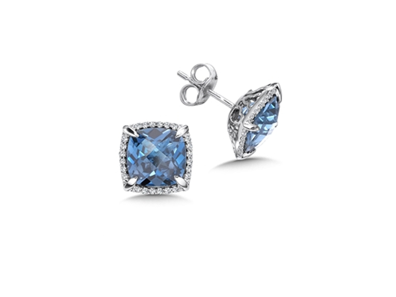 14kt White Gold London Blue Topaz Earrings by Colore | SG